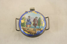 HAND PAINTED ENAMEL PORTRAIT ARGENT DORE 800 SILVER SWISS LADIES WRIST WATCH