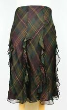 Lauren Ralph Lauren 100% Silk Plaid Mid Calf Stretch Ruffled Flare Skirt Sz L