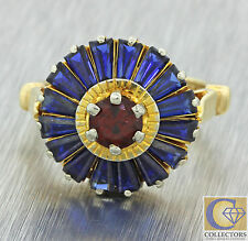 Vintage Estate Art Deco Style 14k Solid Gold 1.74ctw Sapphire Ruby Flower Ring