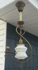 XLNT Antique Vtg Gas & Electric Hanging Ceiling Light Lamp Fixture w/Glass Shade