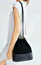 NEW Urban Outfitters Silence & Noise Faux Suede/Leather Draped Bucket Bag Black