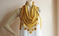 Mustard Triangle Scarf -Mustard Crochet Scarf with Flowers