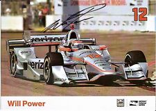 2016 WILL POWER signed INDIANAPOLIS 500 PHOTO CARD POSTCARD INDY CAR VERIZON wCA