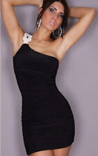 Feminine Glamour One Shoulder Etui Dress With G-String Black
