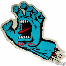 "SANTA CRUZ  ""Screaming Hand"" Skateboard Sticker BLUE 16cm x 10cm Old Skool"