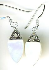 925 Sterling Silver White MoP & Marcasite Drop / Dangle Hook Earrings  L 1.3/8""