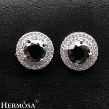 Genuine AAA 925 Sterling Silver Round Black Onyx, White CZ Stud Earrings
