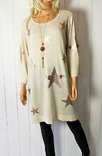 ITALY tricot fin pull pull étoiles stars 38 40 42 44 oversize beige NEUF
