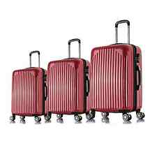 "20"" 24"" 28"" 3PC Carry On Luggage Travel Bag Spinner Suitcase ABS Trolley- Red"