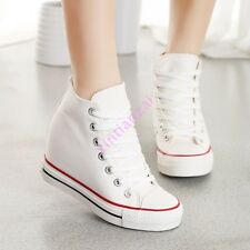 Ladies Hidden Wedge 8CM Canvas High-Top Lace Up Platform Sneakers Shoes Trainers