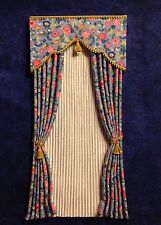 Tiny Blue & Pink Print Dollhouse Curtains w/ Satiny Semi - Sheers -1:12 scale