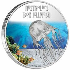 2011 Jellyfish 1oz Silver Proof Coin color Tuvalu $1 Deadly and Dangerous