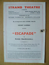 STRAND THEATRE PROGRAMME First Perform1953- ESCAPADE by Roger MacDougall