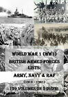 WORLD WAR 1 WW1 BRITISH ARMY NAVY & RAF LISTS - 139 VOLS - 5 DVDs! medal uniform