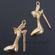 20x HOT Gold Plated Alloy High Heel Shoes Charms Pendants New Jewelry Findings L