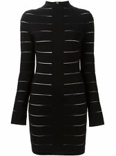**BALMAIN** Striped Fitted High Neck Dress