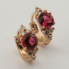 Marvelous Red CZ Fashion Jewelry White Gold Filled Huggie Earrings e554