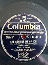 "FRANKIE LAINE : She Reminds Me Of You / One For. 10"" Shellac. Sinatra, King Cole"