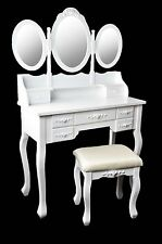 QUEEN Make-up table Vanity Makeup Table with mirror & Stool Vintage White