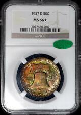 1957-D FRANKLIN HALF DOLLAR NGC MS 66 STAR - CAC - LUSTROUS RAINBOW COLORS!