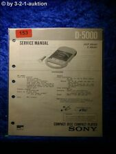 Sony Service Manual D 5000 CD Player (#0153)