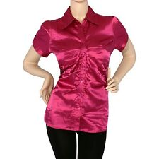 IRON PUPPY Plus Satin Charmeuse S/Slv RUCHED Button Down Shirts SHINY Top Blouse