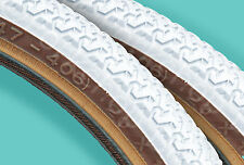 "Kenda K55 freestyle old school BMX skinwall gumwall tires PAIR 20"" X 1.75"" WHITE"