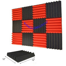 "1""x12""x12""(12 Pack) RED/BLACK Wedge Sound insulation Studio Foam Tiles"