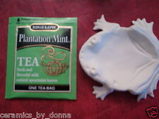 FROG TEABAG HOLDER JEWELRY TRAY SPOON REST READY TO PAINT CERAMIC BISQUE