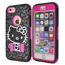 New Cute Hello Kitty Shockproof Hybrid Case Cover For iPhone 4 4S 5 5S 6 6Plus