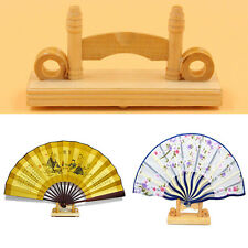 Hollow Wood Chinese Folding Hand Fan  Stand Racks Home Decor Display Base Holder