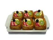 6 Tart Pie Summer Fruit Top on Ceramic Tray Dollhouse Miniatures Food Deco -5