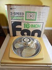 Vintage 16 inch SEARS Window Fan 3 Speed Reversible Metal Extentions Grill Used