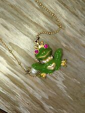 Betsey Johnson Prince Charming Frog Necklace w/ Pink Gift Box