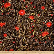 KAFFE FASSETT Fabric Fat Quarter Cotton FLORAL Ferns Black
