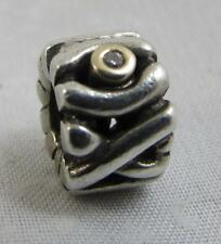 Retired Genuine Pandora Silver & 14ct Gold & Diamond Hugs & Kisses Charm 790352D