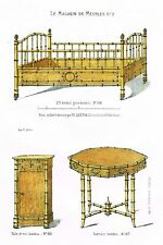 "Quentin's Catalogue - ""BAMBOO CHILD'S BED & TABLE"" - Chromolithograph - 1850"