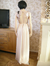 12 TFNC NUDE / GOLD DRESS SEQUIN CHIFFON BACKLESS BRIDAL / BALL 20S 30'S VINTAGE