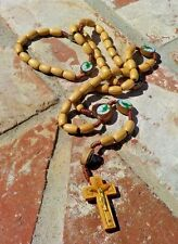 LIGHT BROWN WOOD BEAD ROSARY  MEXICO CHRISTAIN RELIGIOUS WITH FREE SHIPPING