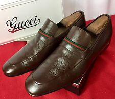 Mens Brown Gucci Leather Loafers Sz 8.5 UK 9.5 US 42,5 E Made In ITALY