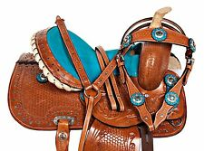 10 12 BLUE CRYSTAL USED PONY HAND CARVED LEATHER WESTERN YOUTH KIDS SADDLE TACK