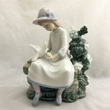 NAO by Lladro Feasting Doves Girl on Bench w Doves Fine Porcelain Figurine #0383