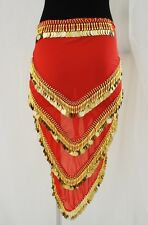 Gypsy Bollywood Bellydance Baladi Red Gold Coins Egyptian Hip Wrap Scarf Costume