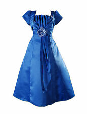 New Blue Satin Bridesmaid Flower Girls Pageant Dress with Bolero 12-13 Years