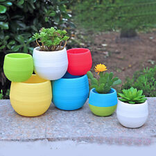1X Candy Colourful Plant Mini Round Plastic Home Office Decor Planter Flower Pot
