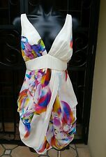 NWTS Seduce White & Bright Silk Dress, With Draped Front  Size 10 RRP$200