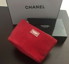 CHANEL RED MAKEUP Cosmetic Velvet Small Bag /Pouch ~ Red~ Brand New In Box