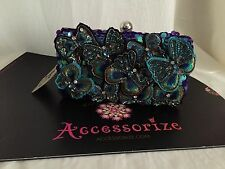 BNWT MONSOON ACCESSORIZE BUTTERFLY EMBROIDERED EMBELLISHED  HARD CASE CLUTCH BAG