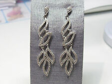 Glorious Pave Set Elegant Contemporary Rhodium Plated Silver Long Drop Earrings