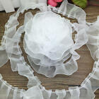 New 5Yrds 25mm White Handmade Organza Pleated Trim Lace Ruffle Doll Flower LS83